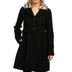 Kate Spade Shanghai Wool Coat Faux Fur Collar